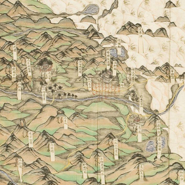 Ausschnitt aus: Karte des linken Banners der Ongnighut (Dzuuda-Bund), Hs. Or. 61